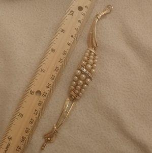 Vintage coro gold pearl crystal stamped bracelet